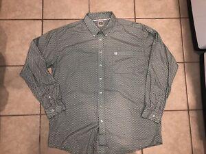 Cinch Long Sleeve Button Up Shirt Size 2XL XXL Blue Teal Checkered Silver Label