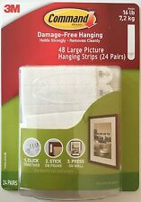 3M Command Large Picture Hanging Strips 24 Pairs Sets 48 Strips 16lb  FREE SHIP!
