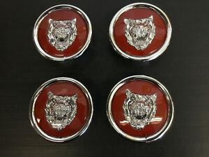 Jaguar BRIGHT RED OEM Wheel Badge Emblem Cap 4 PCS MNA6249EA FITS ALL 1988-2012