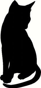 cat sticker silhouette vinyl decal cute wall door laptop mirror car black cat uk
