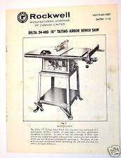 "DELTA 34-400 10"" TILTING Arbor Table Bench SAW 1967 RR98 installation adjustment"