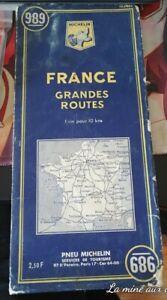 Ancien Carte routière Michelin N° 989 France Grandes routes 1963 Bleue map
