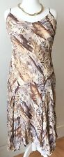 M&S Dress 14 Leopard Print Camisole Spaghetti Straps Brown Taupe Party Sexy Date