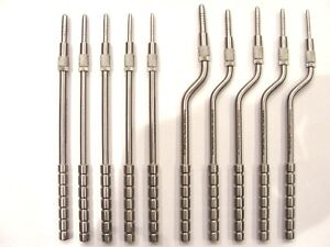 implantology osteotomes 5 straight, 5 curved, set of 10 convex graduated tips