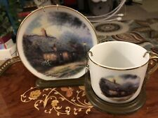 Vintage Thomas Kinkade Cup And Saucer Moonlight Cottage with Holder Teleflora
