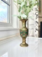 Vintage Etched Brass Vase -Painted Brass Case With Floral Motif- Made In India