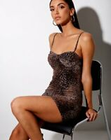 MOTEL ROCKS Jemina Bodycon Dress Mesh Gradient Cheetah Brown L Large  (MR105)