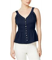 Maison Jules Womens XS Sweetheart Neck Peplum Sleeveless Blouse Top Blue 218