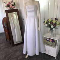 Henri Josef  White Dress Size 10  women Wedding Formal Deb Embroidered Long