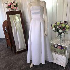 Henri Josef  White Dress Size 10  women Wedding Formal Deb Embroidered Long