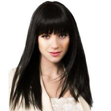 18'' Perruque Femmes Longue Noire Droite en Vrais Cheveux Humains pr Cosplay