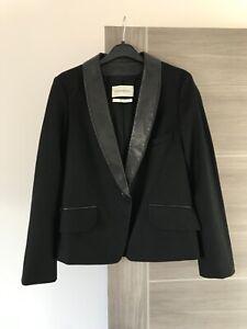 Yves Saint Laurent YSL black wool & real leather blazer jacket 36 38 UK 10
