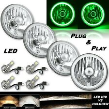 "5-3/4"" Green COB LED Halo Angel Eye Crystal Clear Headlamp 6k LED Bulb Set of 4"