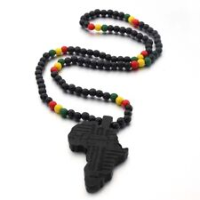 Black Africa Map Wood Pendant Necklace Yellow Green Red Beads Chain Jewelry