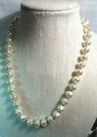 "Vintage MIRIAM HASKELL Shiny Large Glass Baroque Pearl  22"" Necklace ~ PRETTY!"
