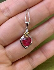 2.00 Cttw Ruby Heart Pendant Necklace Sterling Silver w/ Chain