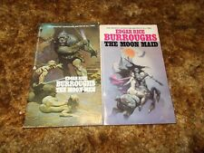 EDGAR RICE BURROUGHS~MOON SERIES~RARE COMPLETE 2 MATCHING $2.75  COVERS LOT