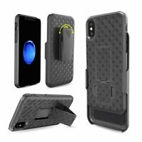 iPhone X/XS 2018 Slim Holster Shell Combo Shockproof Case w/Belt Clip Kickstand