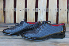 Amalfi by Rangoni ESSE Black Patent Leather Quilted Sporty Oxfords Low Heel
