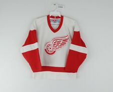 Vintage 90s CCM Youth S/M Detroit Red Wings Hockey. Jersey Stitched White NHL