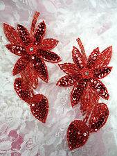 XR51 Appliques Red Floral Mirror Pair Beaded Sequin Flower Patch diy Crafts 6""