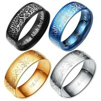 Titanium steel Islamic Ring Band Allah Arabic God Messager Rings Men's Jewelry