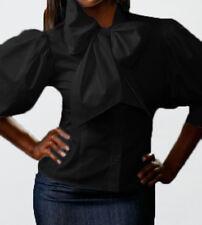 Spandex cotton Classic Bow top shirt Blouse YY001 BLACK PLUS size 1X  2X