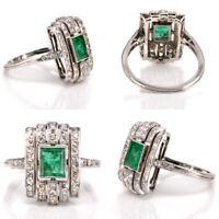 1.5 Ct Vintage Art Deco Antique Emerald Cut Engagement Ring 925 Sterling Silver