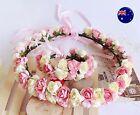 Women Flower Girl Wedding Pink Flower Hair Headband crown Bracelet Prop Garland
