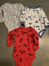 Lot Of 3 Baby Boys Long Sleeved Bodysuits Carter's Cat & Jack 9 Months