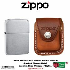 Zippo 1941 Replica Br Chrome Lighter and Brown Leather Clip Pouch #1941_LPCB