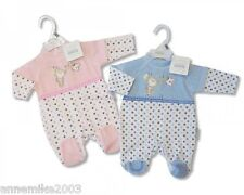 BNWT Gorgeous soft velour pink or blue spotty  sleepsuit  3-6 months