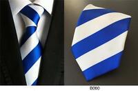 Blue and White Tie Stripe Pattern Handmade Silk Wedding Club Necktie