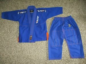 BOYS BLUE ELITE SPORTS JIU JITSU GI SET sz C0 mma / karate jacket & pants XS
