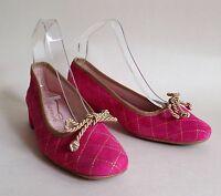 Spanish Ballerinas Lipstick Pink Suede Ballet Pumps Gold Corded Bows UK 4 EU 37