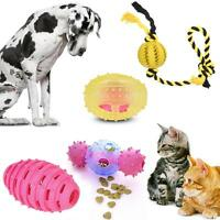 Lovely Pet Dog Puppy Cat Treat Ball Dental Teething Toy Chew Play Toy Safe E9Q3