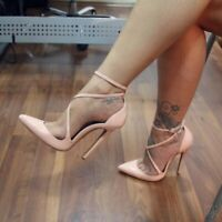 Women Sandals Pointy Toe Stilettos High Heels Buckle Strap Shoes Sexy Evening SM