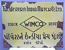 VINTAGE MATCHBOX ADVERTISE SIGN VIMCO PORCELAIN ENAMEL WESTERN INDIA MATCH COMPA