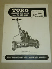 """1952 TORO MOWER OPERATING PARTS MANUAL SPORTLAWN 21"""" AND 18"""""""