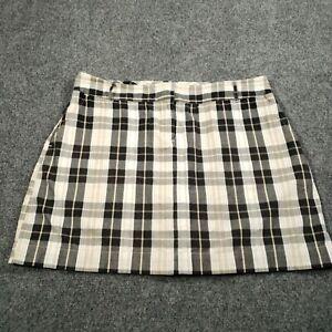 IZOF XFG Beige Black Womens Size 12 Plaid Stretch Activewear Short Golf Skort