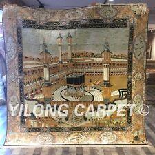 Yilong 7.2'x7.2 Muslim Prayer Handmade Classic Silk Carpet Square Area Rug L144A