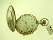 15J - Nice Silver Case - B.Offer 1887 Aurora Watch Co. Hunter Pocket Watch S18