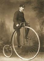 Antique Photo ... Man on High Wheel Penny Farthing Bicycle ... Photo Print  5x7