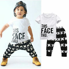 2PCS Infant Kid Baby Boy Outfit Summer tshirt Top + Long Pant Trousers Set 1-5 Y