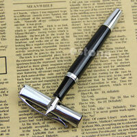 New Baoer 051 Smooth Stainless Black Medium Nib Study Business Fountain Pen