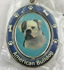 American Bulldog Key Chain Spinning Pet Key Chains Double Sided Spinning Center