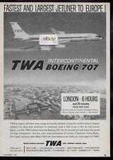 TWA TRANS WORLD BOEING 707 INTERCONTINETAL JETS TO EUROPE 6 HRS LONDON/IDL AD