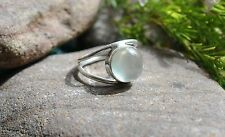 """GENUINE PREHNITE GREEN 925 STERLING SILVER RING SIZE 5.5 """"L"""" WITH GIFT BAG"""