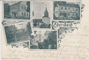 Ansichtskarte Sachsen  Gruß aus Ebersbach  Schankwirtschaft Fichtner etc.  1903