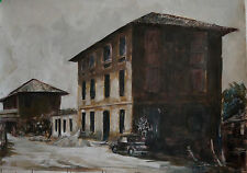 Muzzana, Isola Augusta, Italia, Venecia. Acrílico Original, Lona De Papel